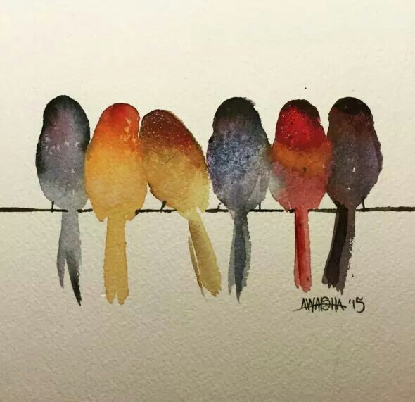 Watercolor birds on a line ... #easywatercolorpaintings