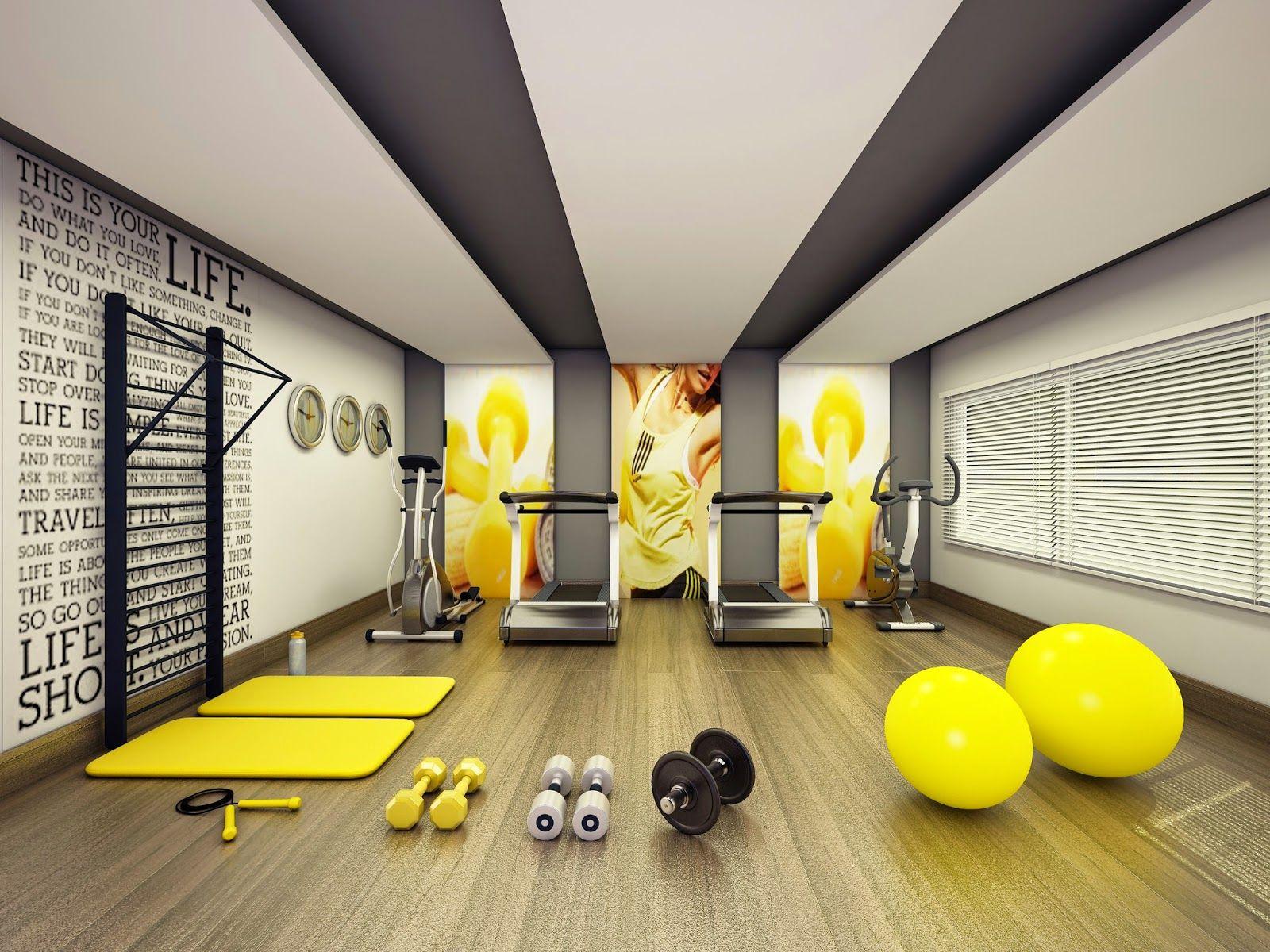 Academia com parede decorada salle de musculation salle de fitness salle de gym