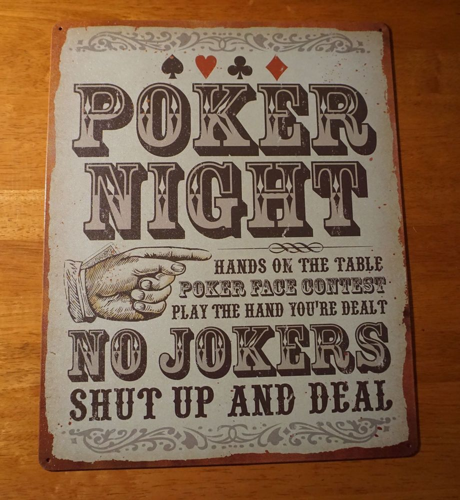 Bar Decor Signs Poker Night  No Jokers  Shut Up & Deal Game Card Table Room Bar