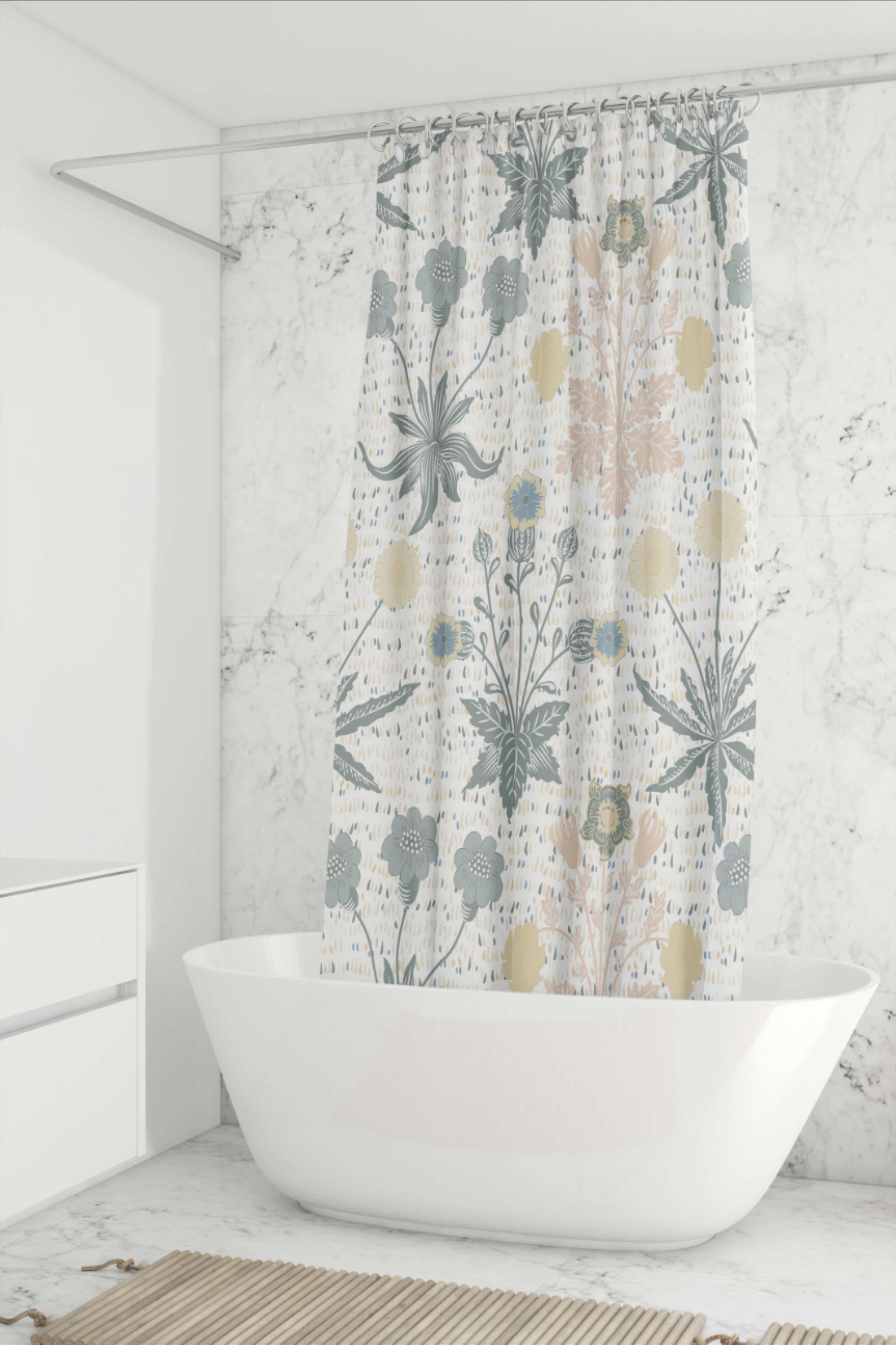 Rustic Floral Shower Curtain For Boho Nature Country Bathroom