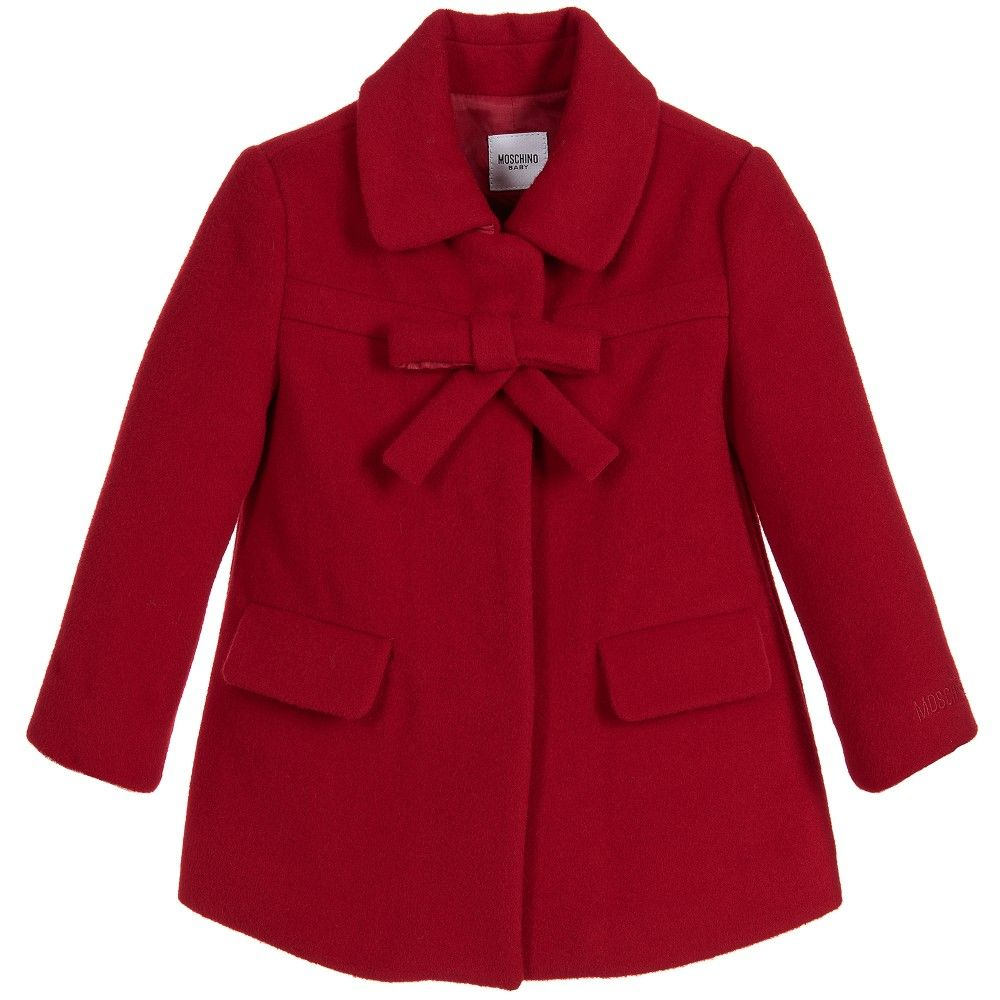 Baby Girls Adorable Red Coat Made From A Soft Wool Blend By Moschino Baby It Has A Silky Lining And Popper Fastenings O Red Wool Coat Coat Fashion Girl Design