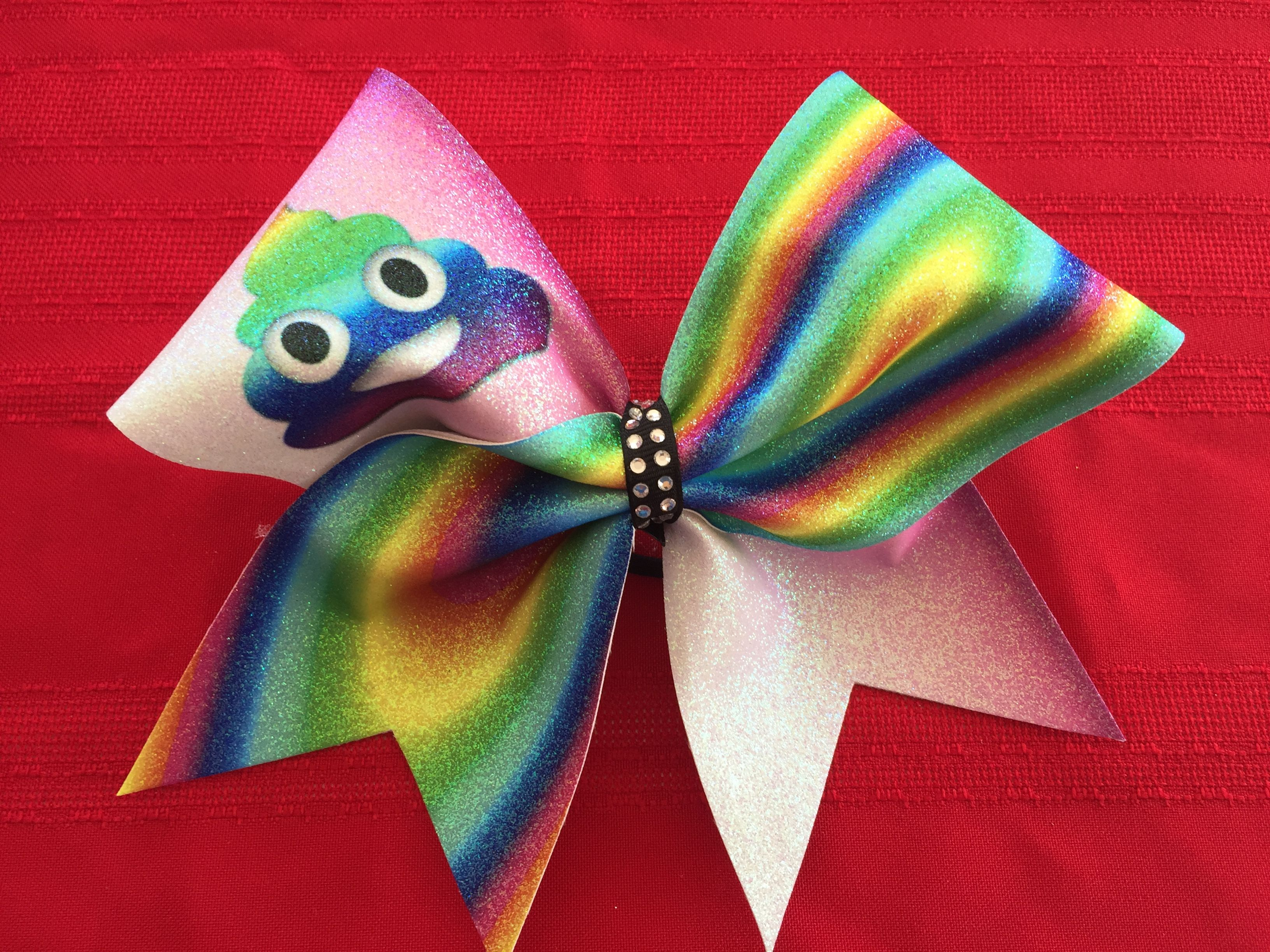 Cheer bow holder for cheer bows and hair bows cheer bow hanger - Poop Emoji Bow By Just Cheer Bows