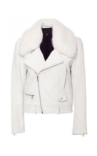 White Chapelle Moto Jacket by JI OH for Preorder on Moda Operandi