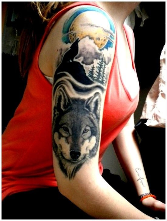 150 Inspiring Wolf Tattoo Designs And Their Meanings awesome  Check more at http://fabulousdesign.net/wolf-tattoos-meanings/
