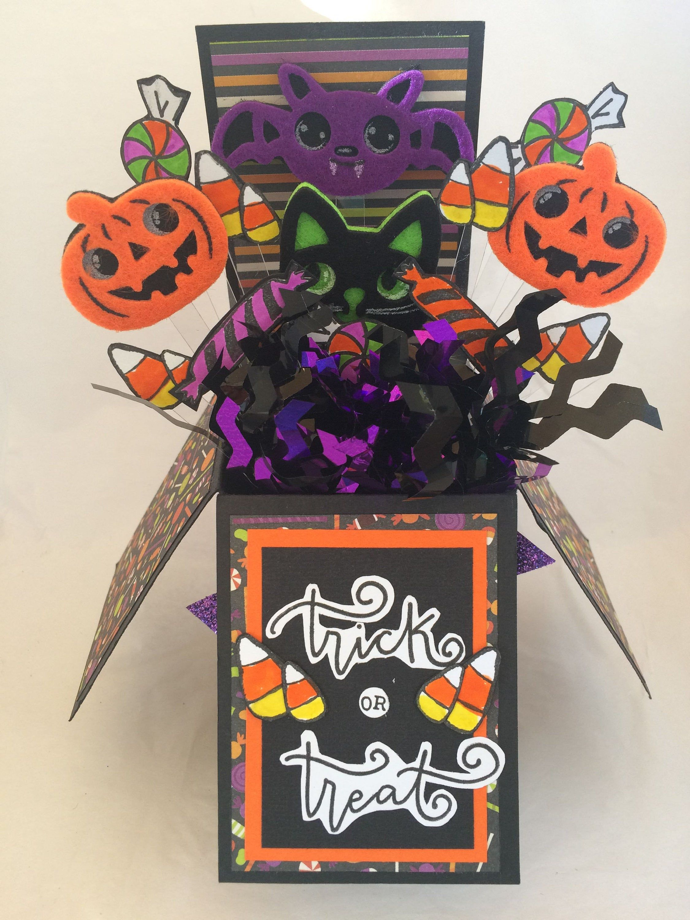 Halloween pop up box card got candy by on