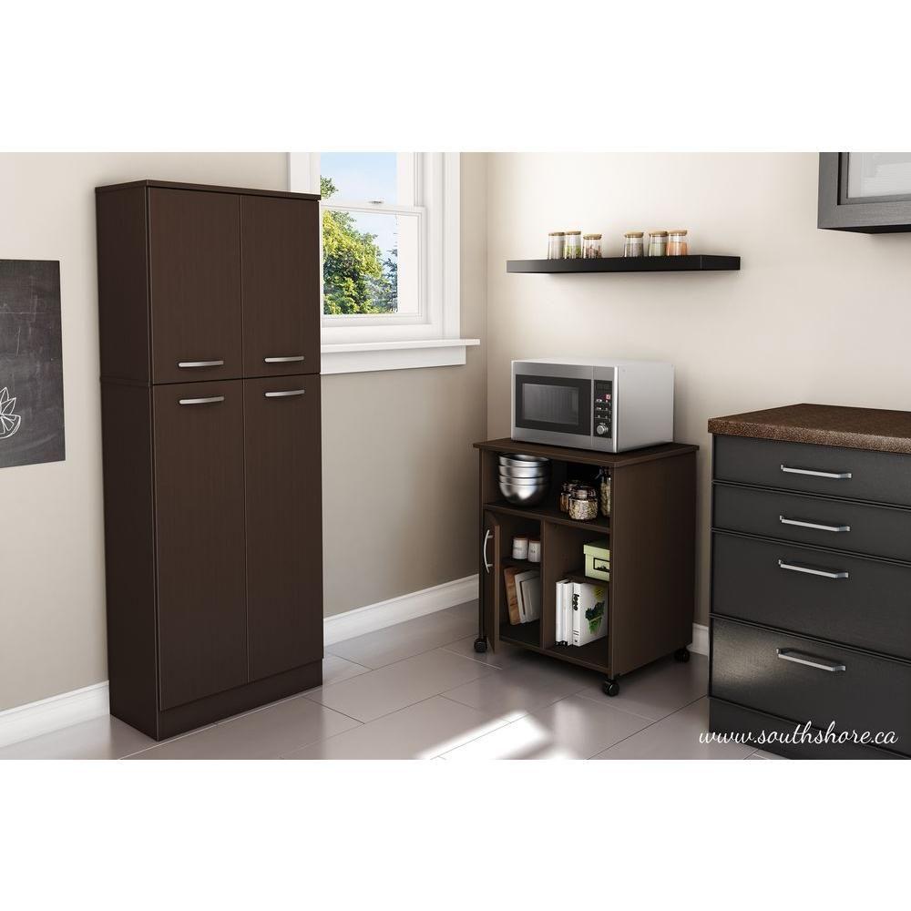 Ameriwood Home Shelton White Stipple Microwave Cart Hd91543