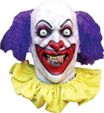 LUSTY THE CREEPY CLOWN  - Full Over The Head Realistic Latex Halloween MASK