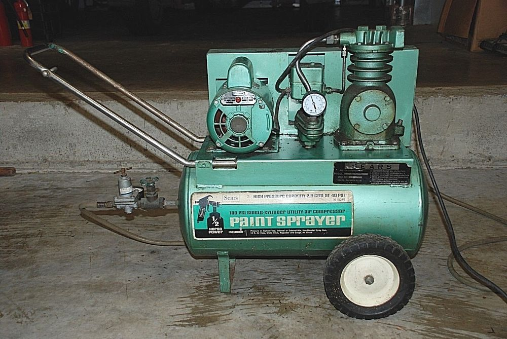 Sears Roebuck Co Air Compressor Paint Sprayer Model No 106 152400 Green 1970 Searsroebuck Craftsman Air Compressor Roebuck Air Compressor