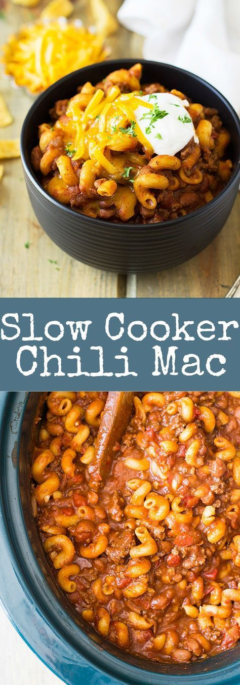 Slow Cooker Chili Mac is an easy comforting dish made right in your crock pot!! | www.countrysidecravings.com #slowcookercrockpots