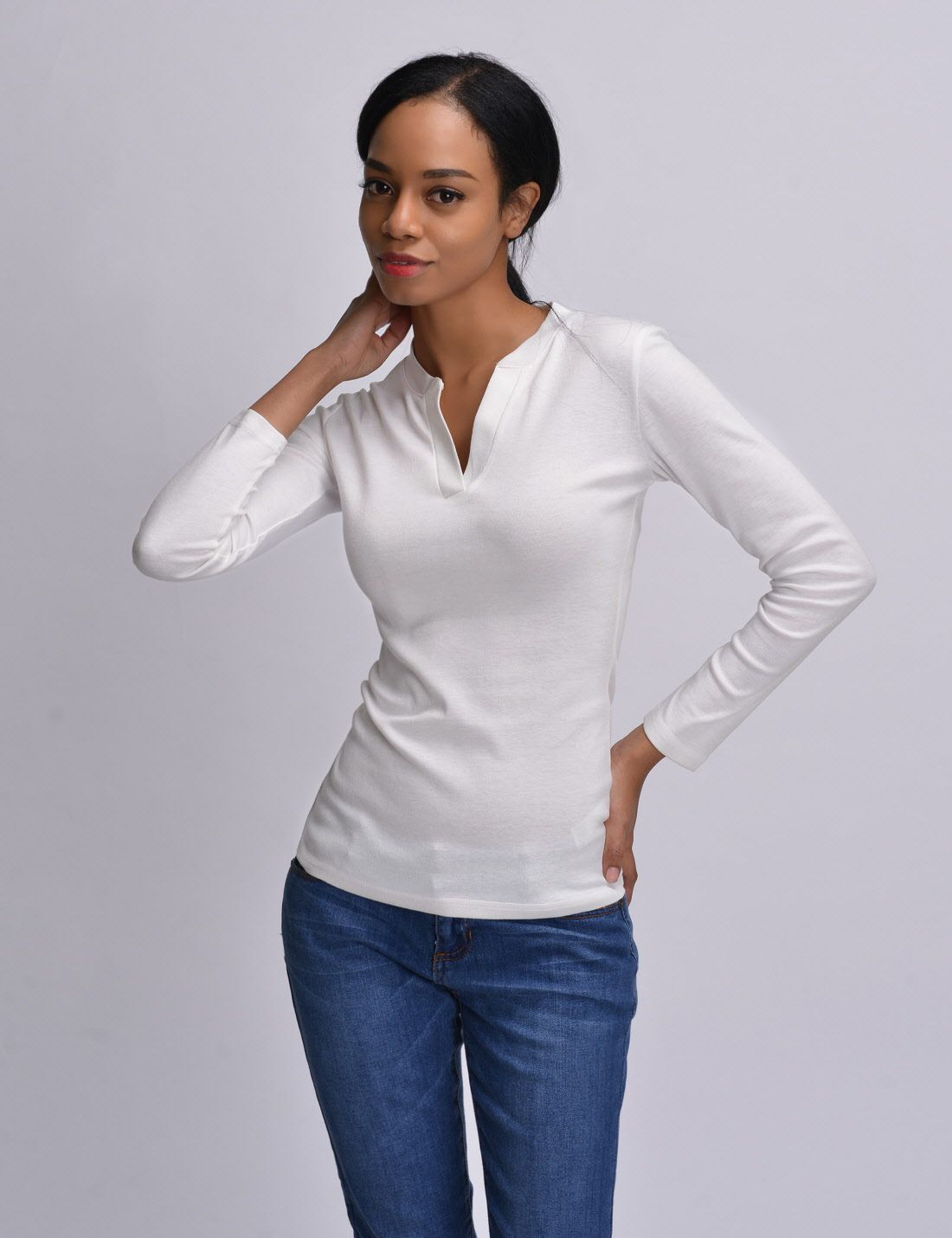 Nkwvt609 thelees womens fitted tee vneck long sleeve