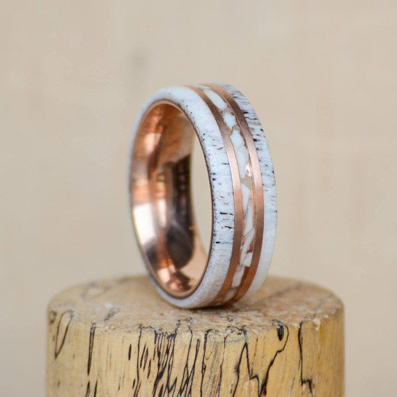 Mens Wedding Band Elk antler and Ivory tooth inlays divided Wifey