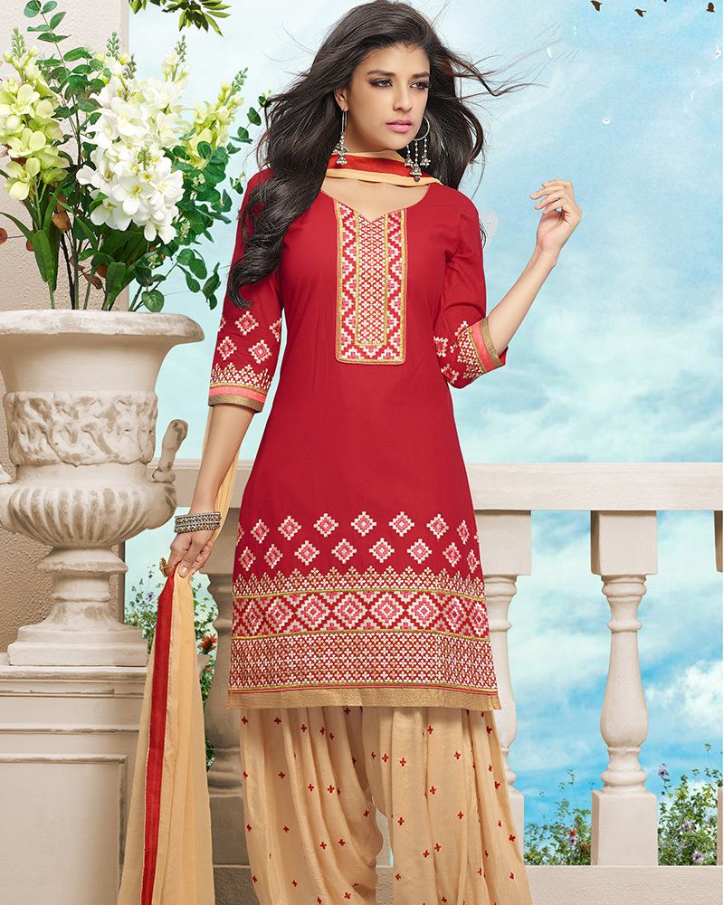 Palkhi Inc - Cotton Patiala Suit In Red And Cream Combination ...