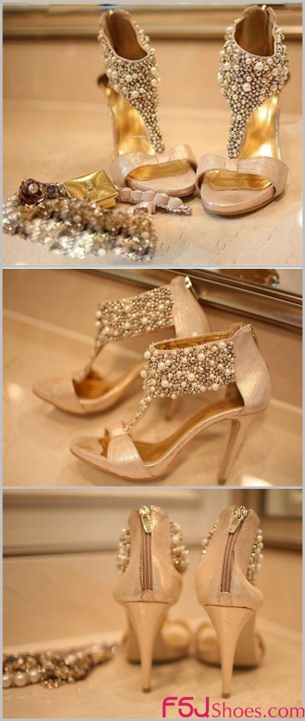 322d3caae00 Golden Jeweled T Strap Sandals Open Toe Stiletto Heels Bridal Sandals