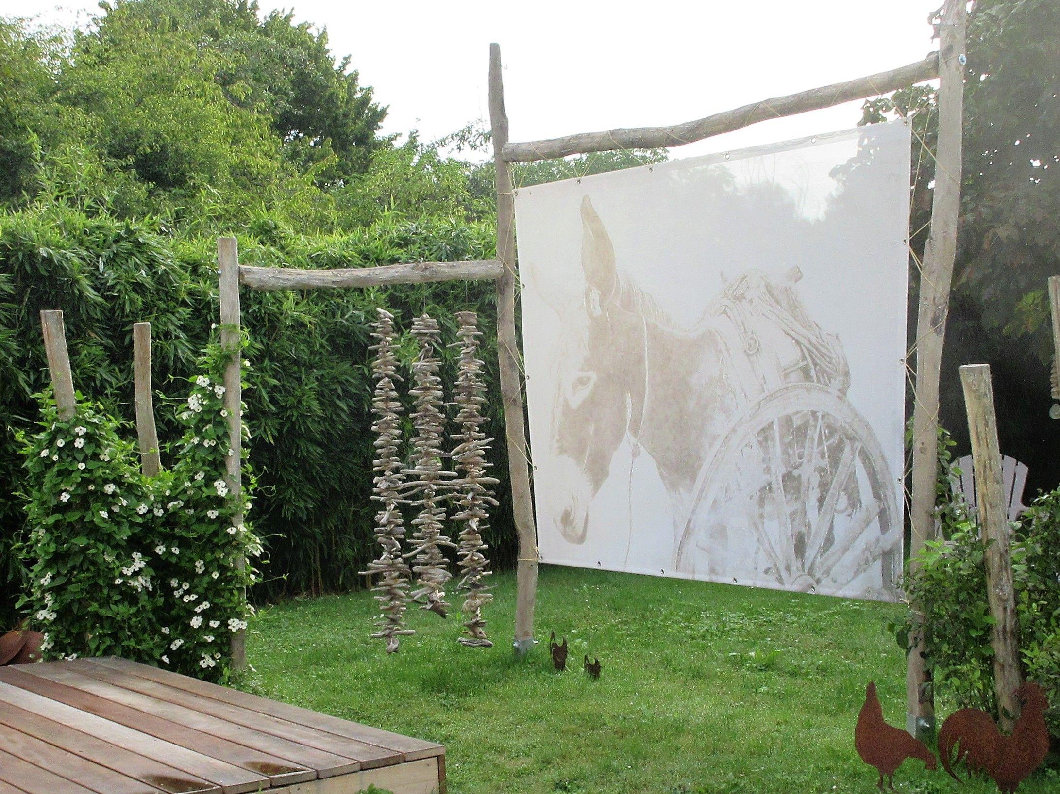 Sichtschutz Blache In Kombination Von Schwemmholz Marion Like Com Garten Garten Gestalten Haus Und Garten