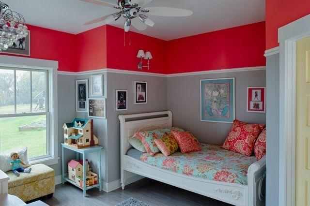 Kinderzimmer Wandfarbe Rot Hellgrau Bordure Kinderzimmer
