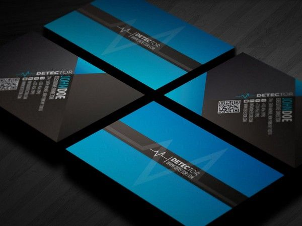 buy now detector business card design using a textured stripe paper material as production using a color tone of blue in creating a more constrasting v - Business Card Design Ideas