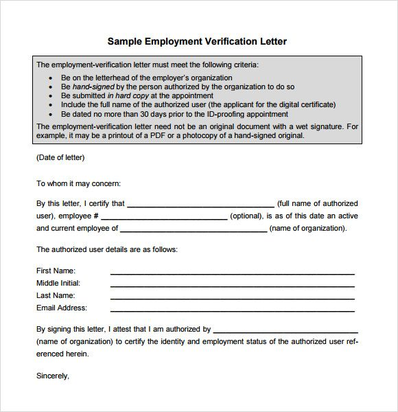 sample proof employment letter download free documents pdf small - free employment verification form template