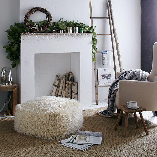 faux mongolian lamb pouf the fantasy of the season. Black Bedroom Furniture Sets. Home Design Ideas