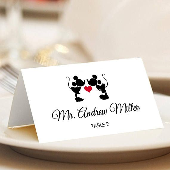 Mickey Mouse Place Cards, Mickey and Minnie Disney Wedding, Escort Cards, Disney Wedding Name Cards, Tented or Flat – Set of 12