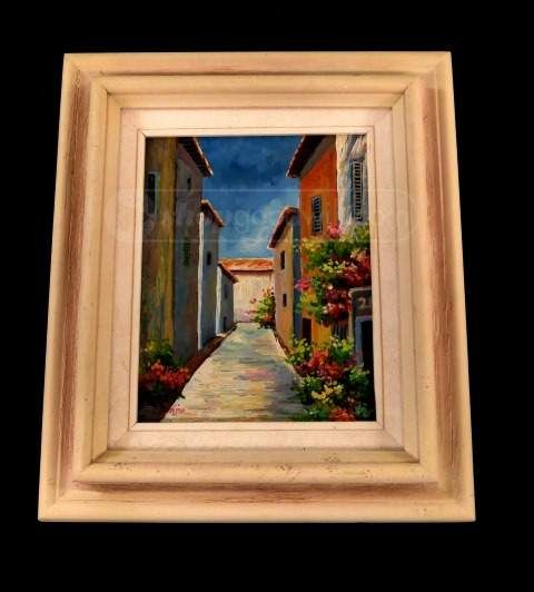 Acrylic Painting Of Side Street Buildings Painting Art Street