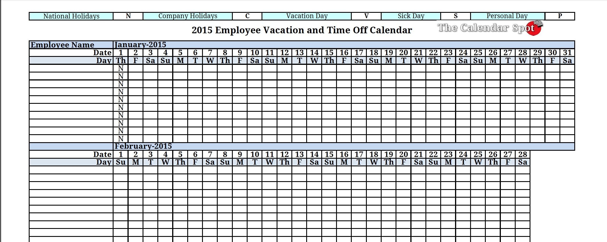 2015 employee vacation absence tracking calendar 2015 for Yearly vacation calendar template