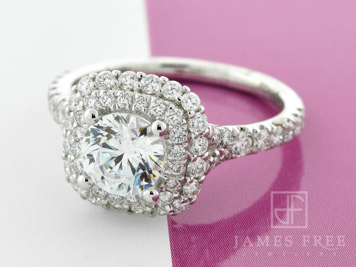 Amavida Double Diamond Halo Engagement Ring: James Free Jewelers ...