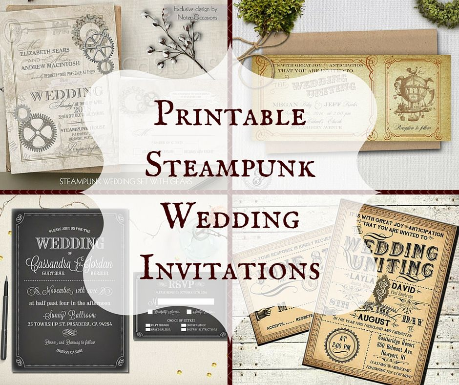 Printable Steampunk Wedding Invitations | Steampunk wedding, Rsvp ...