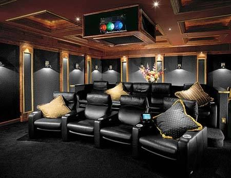 Good Example Of A Classic Cinema Room Dark Carpet And Walls