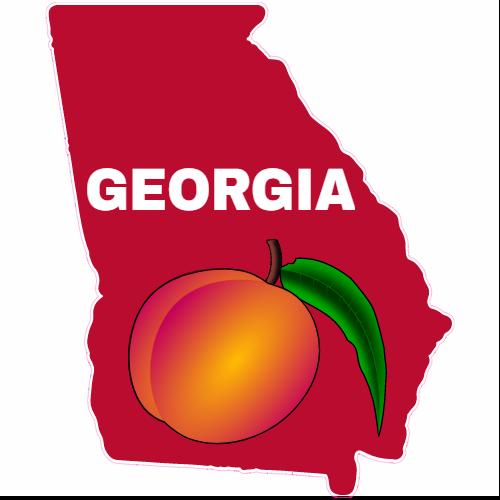 Georgia peach red state shaped sticker u s custom stickers