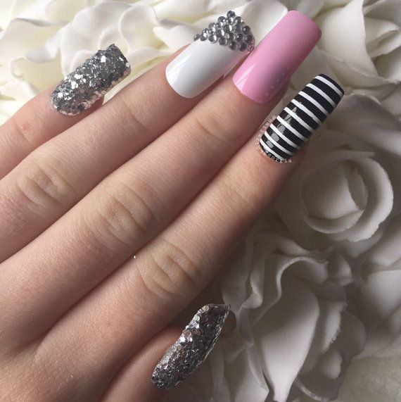 Long square nails in baby pink silver glitter by nailartbygeorgia ...