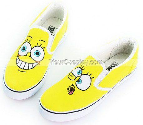 fadb70570fbf Low SpongeBob SquarePants Yellow Hand Painted Canvas Shoes ...