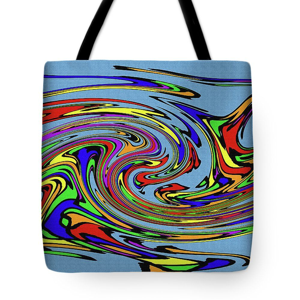 Color String Drawing Abstract  #8 Tote Bag by Tom Janca.  The tote bag is machine washable, available in three different sizes, and includes a black strap for easy carrying on your shoulder.  All totes are available for worldwide shipping and include a money-back guarantee.