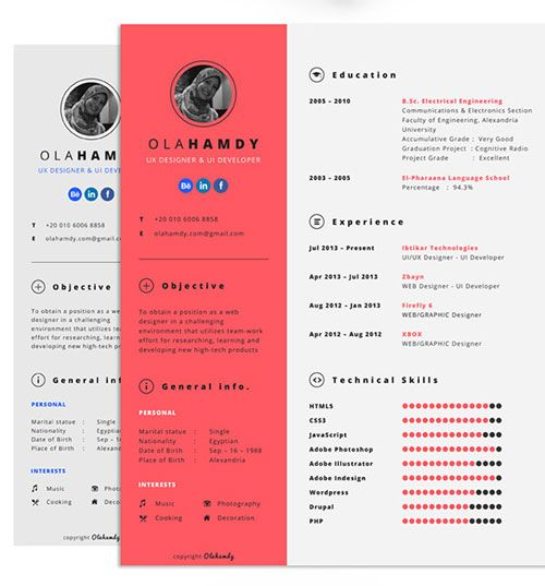 Free Clean Interactive Resume by Ola Hamdy CV ideas Pinterest - creative resume templates free download