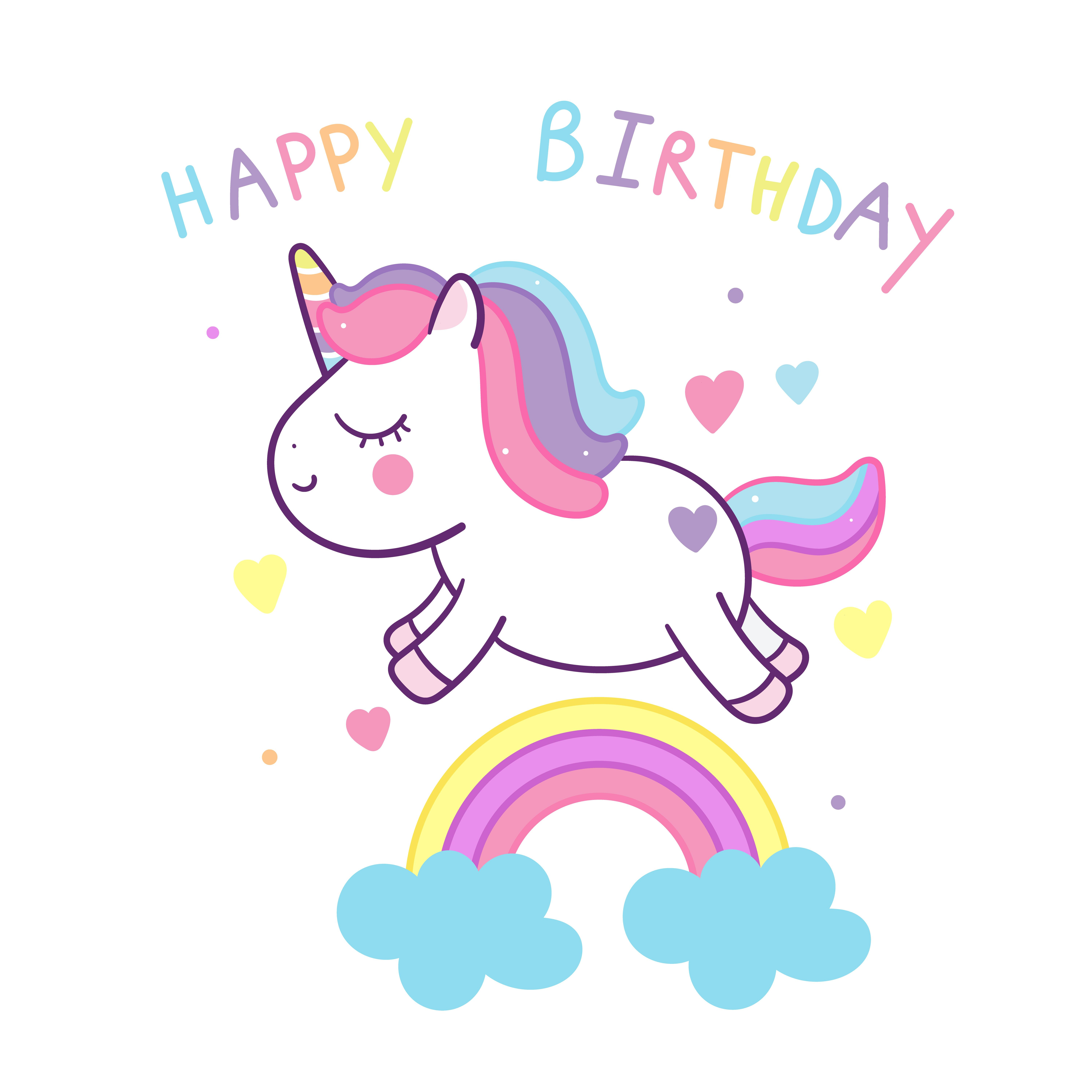 Cute Unicorn Vector On Rainbow Happy Birthday Party Kawaii