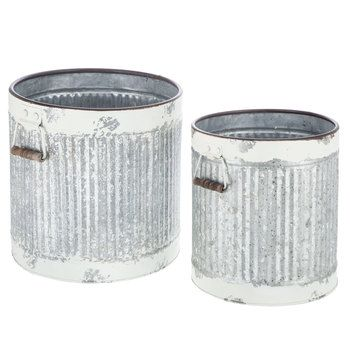 White Chipped Galvanized Metal Container Set
