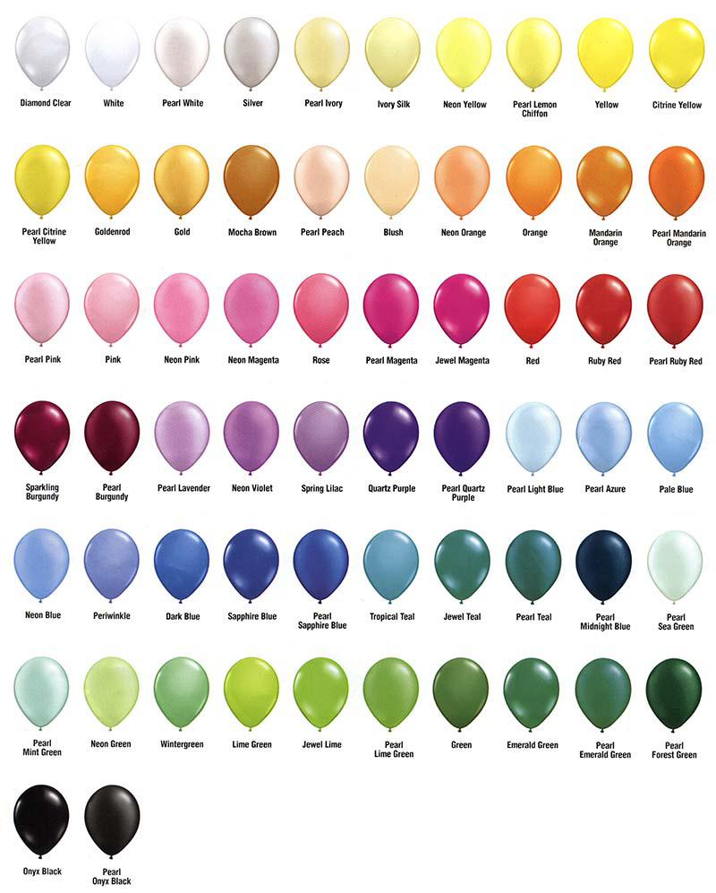 A picture of all of the beautiful balloon colors Qualatex