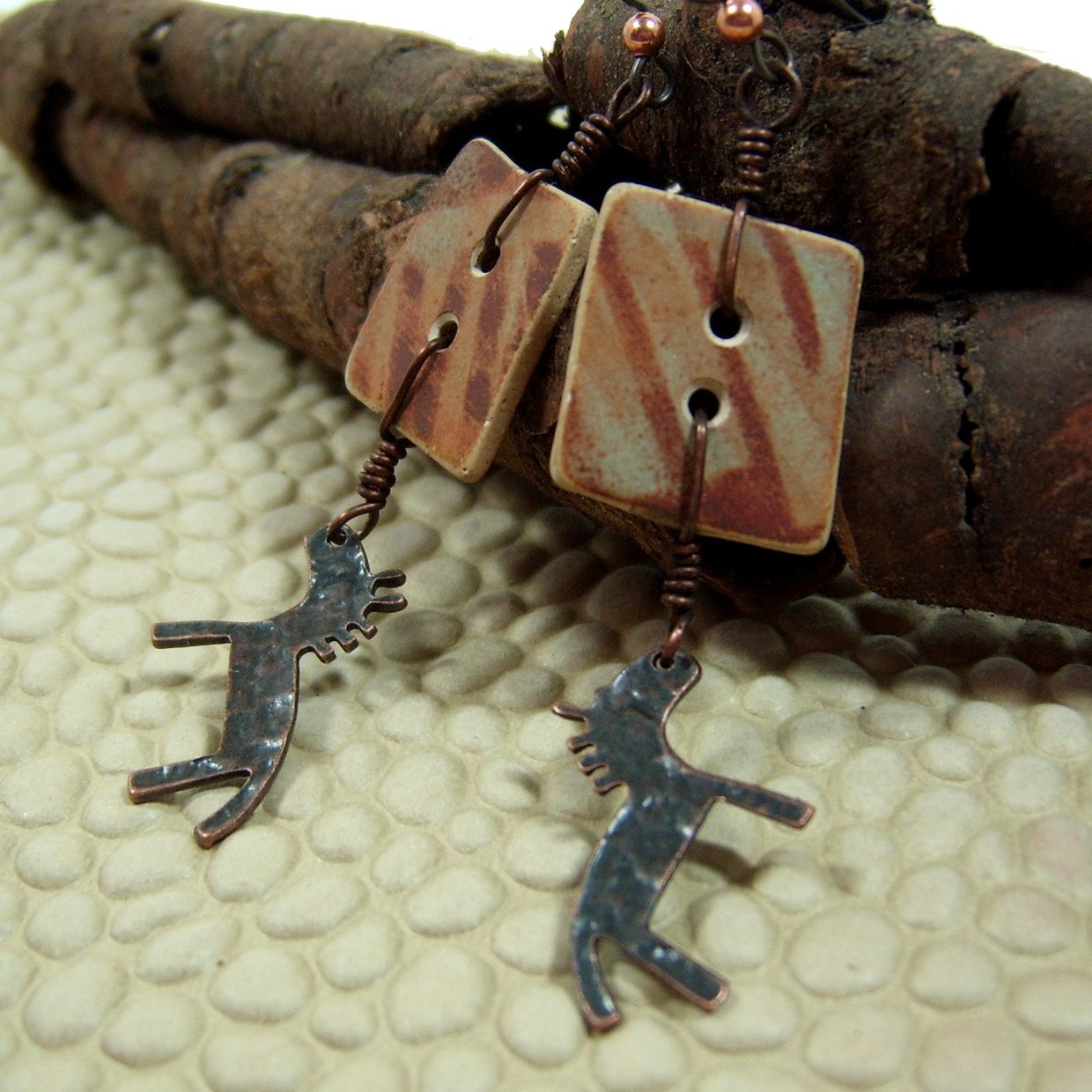 BHClaysmith Stoneware squarish buttons made into earrings
