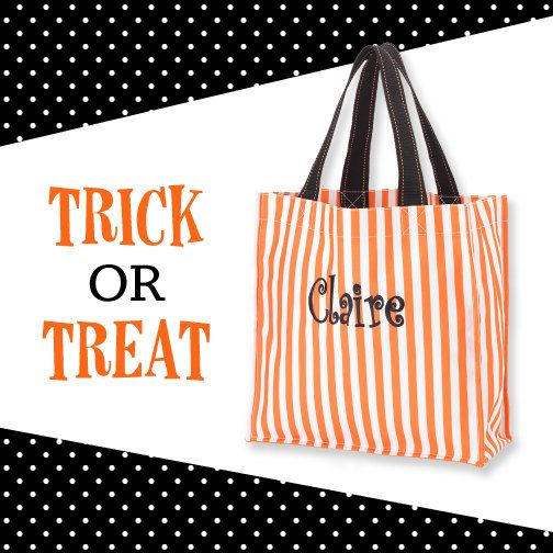 orange stripe monogram halloween tote kids halloween bag monogram candy bag halloween bucket