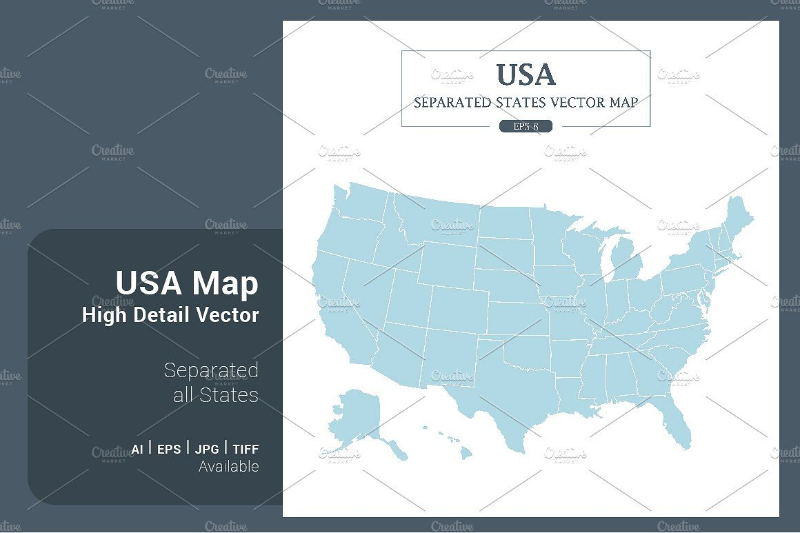 USA Map Separated States Vector