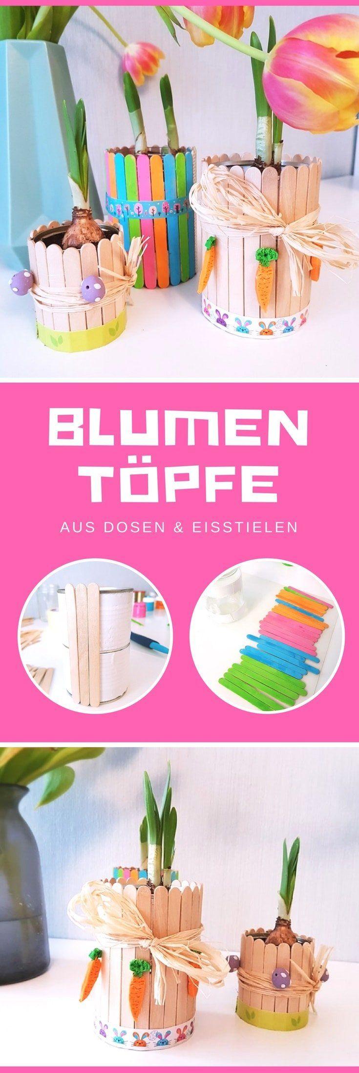 Photo of Blomsterpotte laget av bokser og ispinner: lag din egen vårpynt