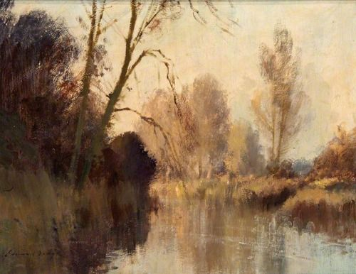 Edward Seago The River At Earlham Norfolk Landscape Paintings