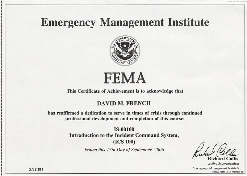 IS-00100 - Introduction to the Incident Command System, (ICS 100 - fema application form