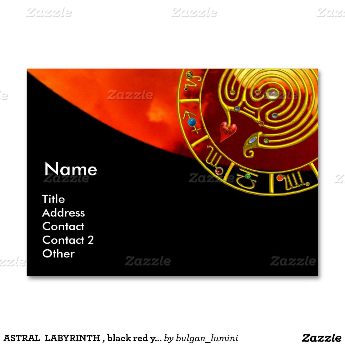 ASTRAL LABYRINTH , black red yellow clouds Large Business Cards ...