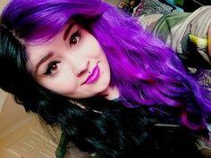 Half Purple Half Black Hair Hair Inspiration Color Split Dyed Hair Cool Hairstyles