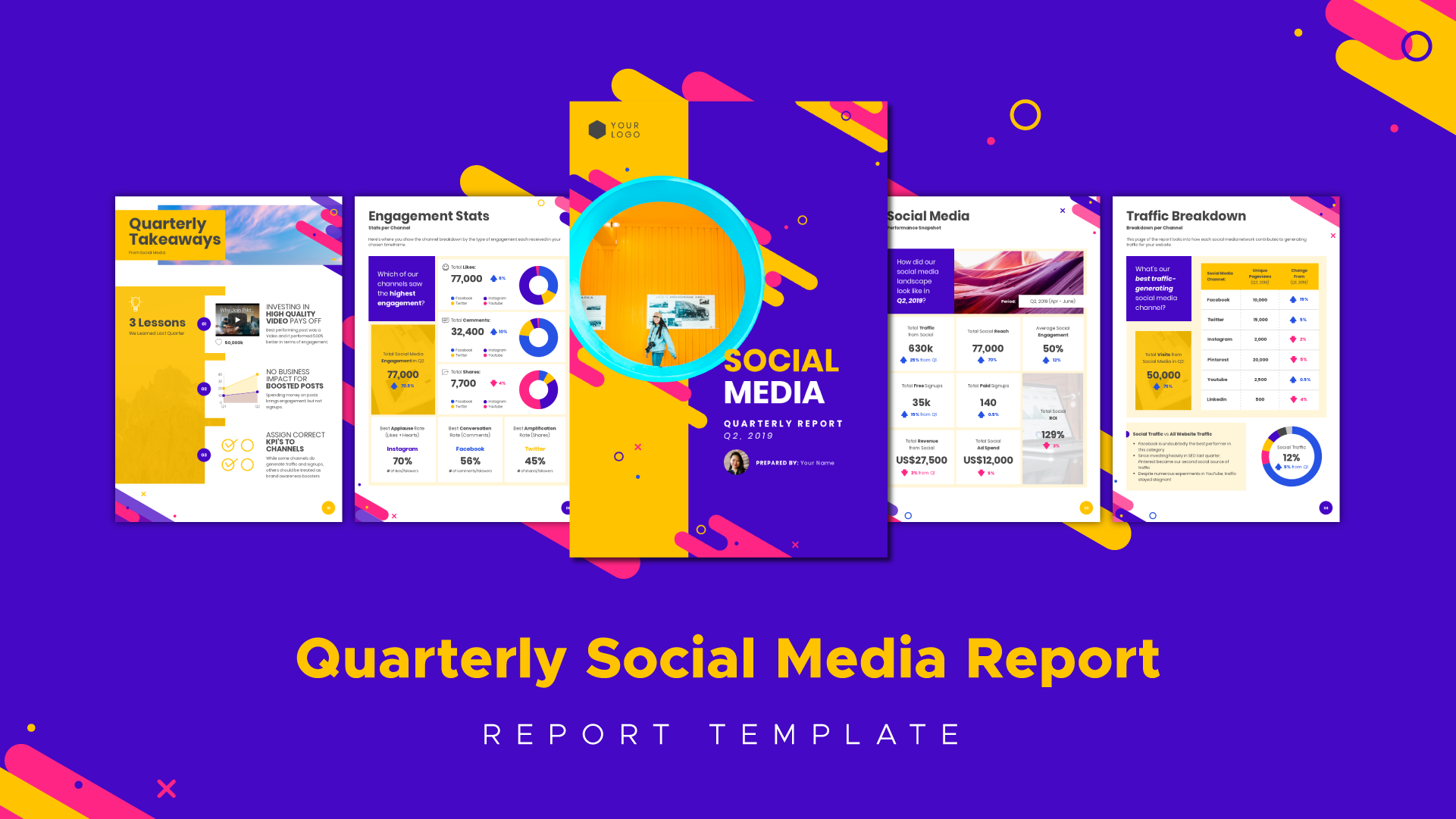 Here Is The Tool You Need To Build A Ground Breaking Report This Is One Of The Many Many Profe Marketing Report Template Social Media Report Report Template