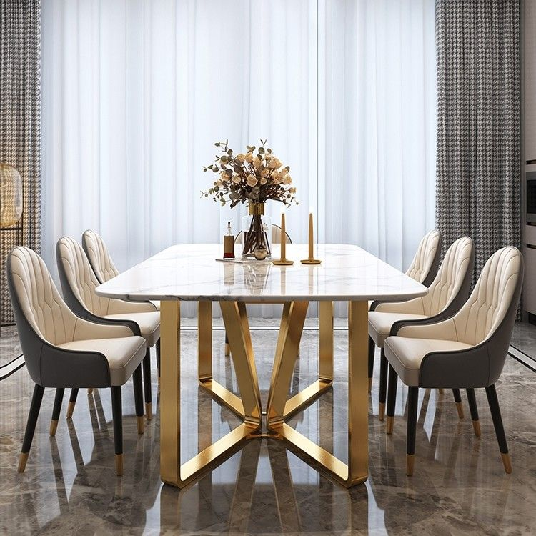 Modern Rectangle 63 Dining Table Marble Dining Table Gold Luxury Dining Tables