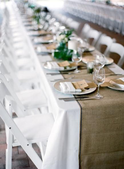 Crisp White Linen And A Rustic Burlap Table Runner Table Runners Wedding Rustic Wedding Table Barn Wedding Decorations
