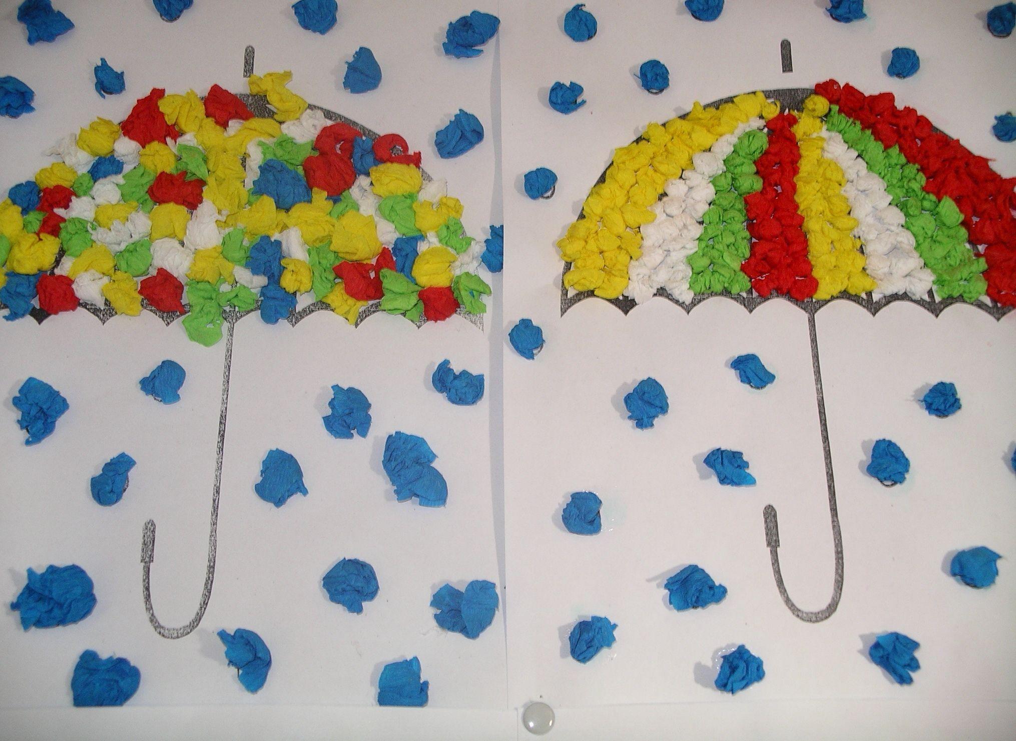Rain And Umbrella Craft With Tissue Paper