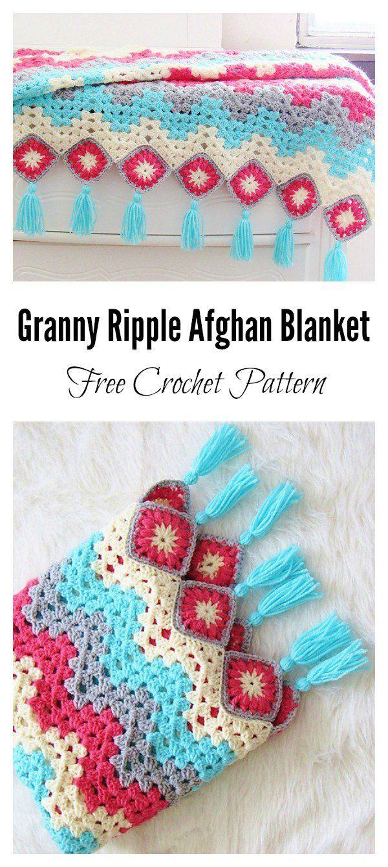 Granny Ripple Afghan Blanket Free Crochet Pattern | Hogar ...