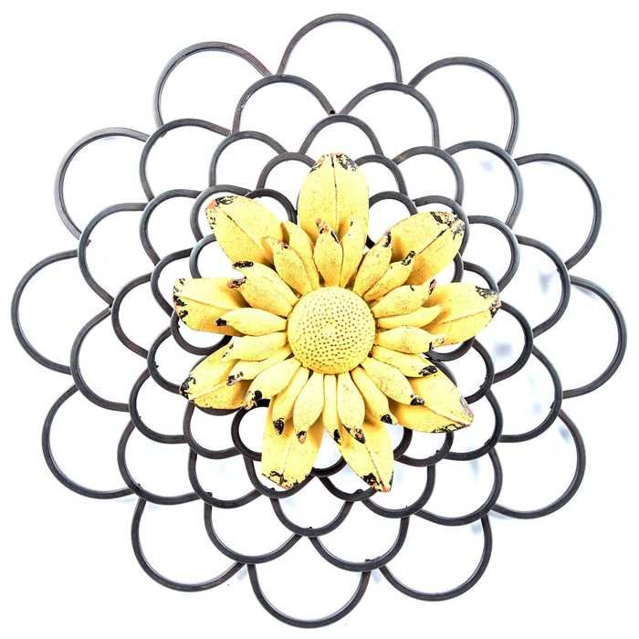 Yellow & Black Layered Metal Flower Wall Decor with Colored Center ...